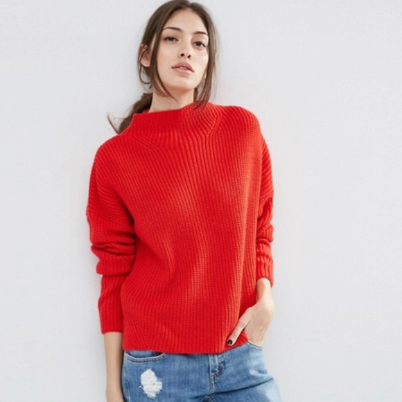 Vintage • Cherry red chunky knit sweater 9bb284664